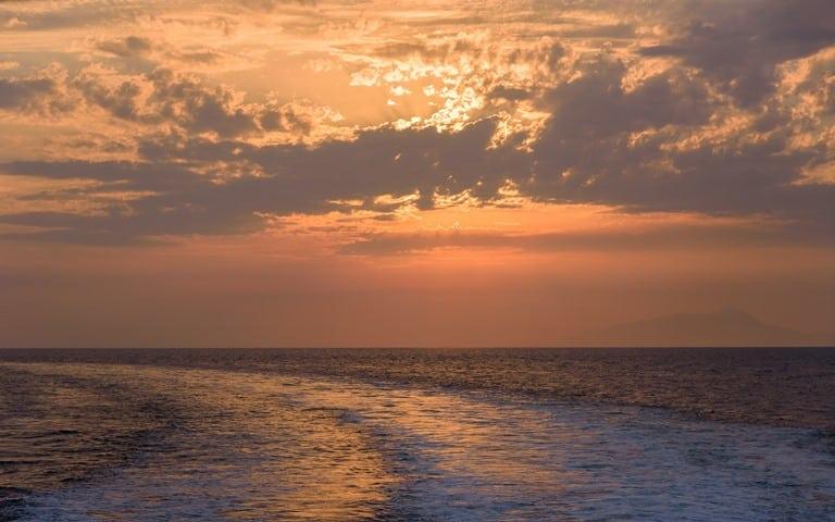 Sunset on Tyrrhenian sea